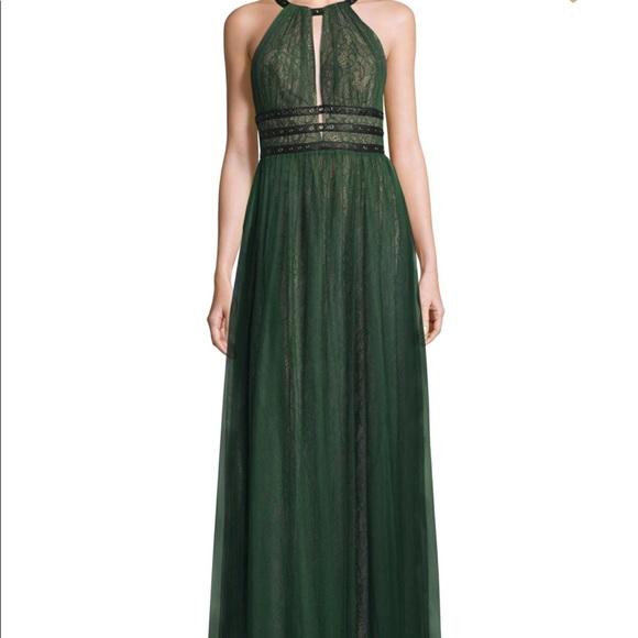 BCBGMaxAzria Dresses | Nwt Tags Green Bcbg Cutout Lace Gown Size 4 ...